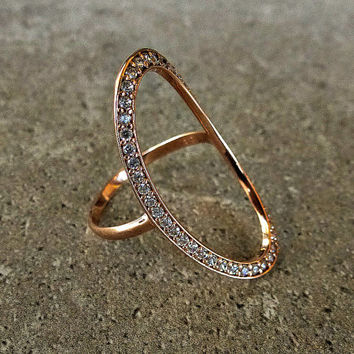 14K Solid Gold Ring, Oval Open Circle Ring w Clear or Black Cubic zirconia, Oval Gold Ring