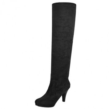 Fashion Women Over Knee Thigh High Stiletto Heel Platform Stretch Boot Size 36-39