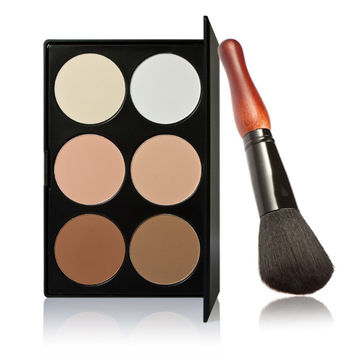 Brand 6 Colors Professional Cosmetic Contour Palette Face Powder Makeup Gourd Powder Brush Black Makeup Palette