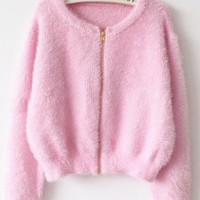 Zipper Closure Long Sleeve Mohair Cardigan Sweater