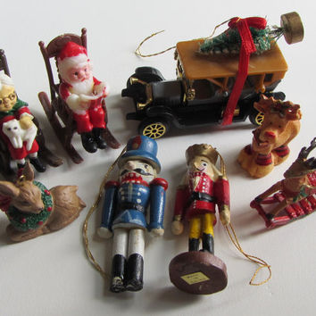 Lot of 8 Small Vintage Christmas Ornaments - Plastic and Painted Wood