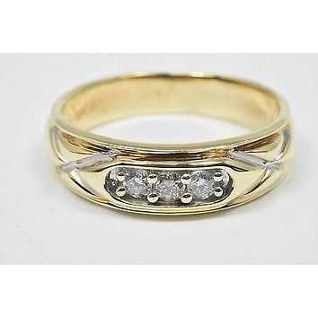 6.0 mm Wide Men's .30 ct H/SI2 Diamond GIA Spec Band in 10k Solid Yellow Gold