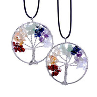 Life Of Tree Necklaces 7 Chakra Stone Beads Natural Citrine Amethyst Agate Pendant Necklace Leather Chains