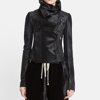 Women's Rick Owens Classic Genuine Calf Hair Biker Jacket,