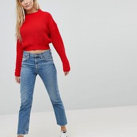 Daisy Street High Neck Crop Sweater With Cable Knit at asos.com