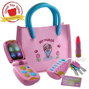 Kids, Baby, Toddlers My First Purse Pretend Play Princess Set with Handbag, Flip Phone, Light Up Remote with Keys, Play Lipstick & Kids Credit Card