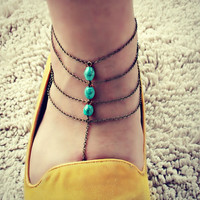 turquoise slave anklet
