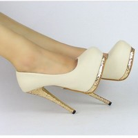 New Sexy Women Bling Platform Apricot Black Club High Heels Pumps Stiletto Shoes
