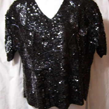 Sequin Top, Blouse, Black Gunmetal, Floral Design, Silk Lining, Size L Large, XL Extra Large, Evening, Resort Cruise Wear