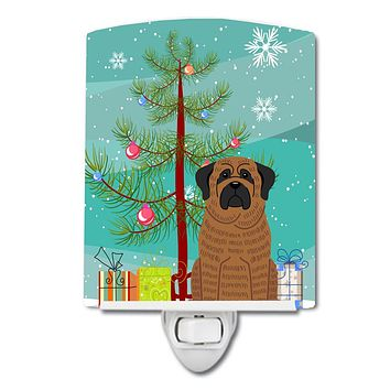 Merry Christmas Tree Mastiff Brindle Ceramic Night Light BB4140CNL