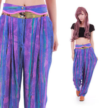 80s Watercolor Slouchy High Waist Pants Baggy Tapered Trousers Blue Pink Striped 90s Hip Hop Hipster Clothing Womens Size Small
