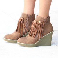 Corky's: Sail Fringe Front Wedge Bootie {Tan}
