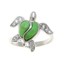 GREEN TURQUOISE STERLING SILVER 925 HAWAIIAN SEA HONU TURTLE RING SIZE 5 - 9