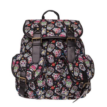 MEXICAN FLOWER SKULL Print leather backpack vintage backpack women 2016 who cares fashion new mochila school bags for teenagers