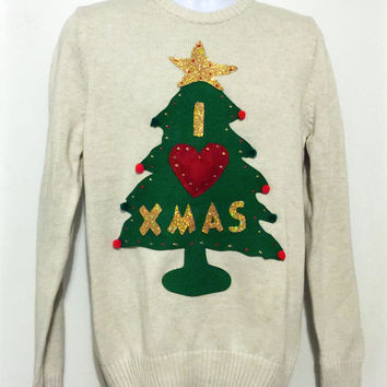 Christmas Sweater, Christmas Tree , Ugly Christmas Sweater, Grinch Sweater, Ugly Sweater Party, White Sweater, Small, Item #9