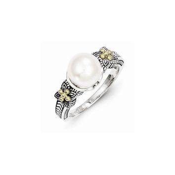 Antique Style Sterling Silver Freshwater Cultured Pearl Ring