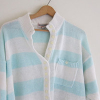 vintage aqua blue and white striped sweater. slouchy pullover sweater with buttons.
