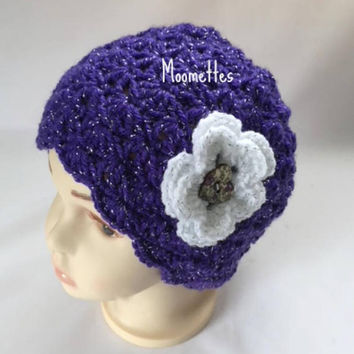 Handmade Beanie Baby Toddler Girls Hat Shell Soft Violet Purple Sparkle Metallic Crochet Flower Heart Painted Wood Button