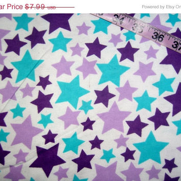 Purple Star Flannel fabric with stars quilt cotton quilting sewing material by the yard BTY 1yd crafts