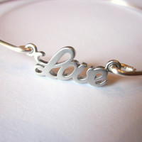 Silver Love Bangle Bracelet Silver Charm Script - Stackable Bangle Charm Bracelet - Valentine's Day Gift - Bridesmaid Gift - Gift under 15