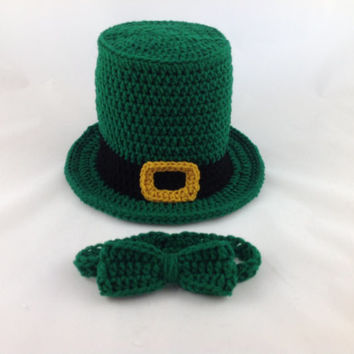 Crochet St Patricks Day Hat and Bow Tie - Baby Leprechaun Hat -  Baby Top Hat -  Leprechaun Hat - Green Top Hat - Bow Tie