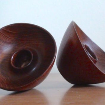 Vintage Teak Candle Holders by Ernst Henriksen