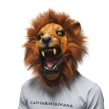 Halloween Props Adult Angry Lion Head Masks Animal Full Latex Masquerade Birthday Party Rubber Silicone Face Mask Fancy Dress