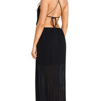 BCBGeneration Open Back Side Slit Maxi Gown in Black