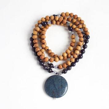 I Am Calm and Collected Mala -- 108 Handknotted Sandalwood with Dumortierite, Blue Sapphire Quartz, and Moss Quartz