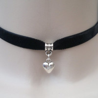 Cute Puffed HEART Charm - BLACK 10mm Velvet Ribbon Choker Necklace -du.... or choose another colour velvet, handmade to size :)