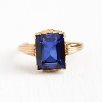 Creaed Sapphire Ring - Vintage 10k Rosy Yellow Gold Created Blue Sapphire Statement - 1940s Size 5 3/4 Dark Blue Stone Jewelry