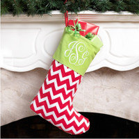 Red Chevron Christmas Stocking