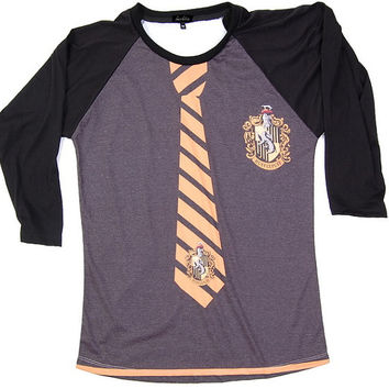 Harry Potter Hufflepuff House Uniform Hogwarts TShirts T-Shirt T Shirt Punk Rock Muscle Raglan Long Sleeve Baseball Women Girls S,M,L