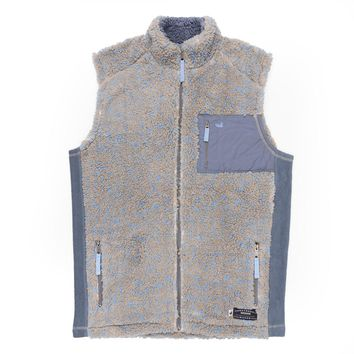 Blue Ridge Sherpa Vest in Brown and French Blue by Southern Marsh - FINAL SALE