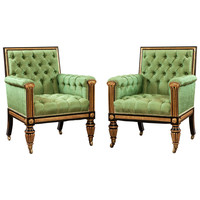 Pair of Georgian Antique Library Armchairs