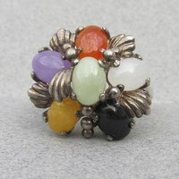 Chinese Export Multi Color JADE Cluster Sterling Silver Vintage Flower Ring, Size 8