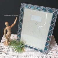 Vintage Handmade Picture Frame, Green and Clear Stained Glass, 5x7 Frame