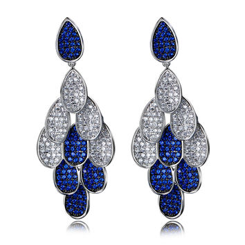 DC1989 Women Drop Earrings Linked Teardrops Rhodium or Gold Plated 4 Colors Synthetic Cubic Zirconia Paved Hypoallergenic Pins