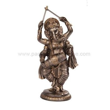 Dancing Ganesha Ganesh Playing Drums Hindu Statue, Bronze Finish 9.25H