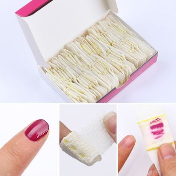 50Pcs Nail Gel Polish Remover Bandage Set Self-adhesive Cotton UV Gel Remover Manicure Nail Art Tool