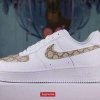 LMFON NIKE Air Force 1 Sup x Gucci White For Women Men Running Sport Casual Shoes Sneakers