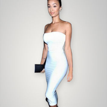 Strapless Midi Bodycon Dress from Global Styles | Dresses