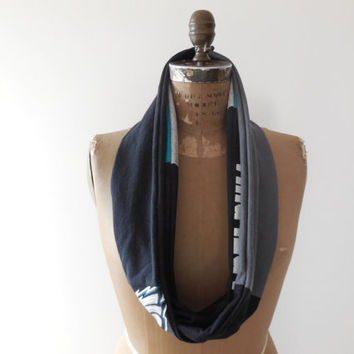 Philadelphia Eagles T Shirt Infinity Scarf / Black Gray / Gift Under 50 / Cotton / Soft / Gift For Her / Recycled / Upcycled / ohzie