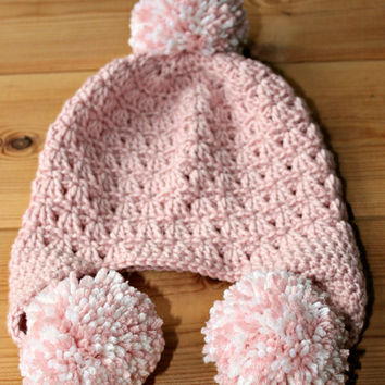 Handmade baby crochet hat Cashmere merino wool silk beanie earflap hat Pom pom bobble Baby girl clothes pink white baby gifts 6 to 12 months