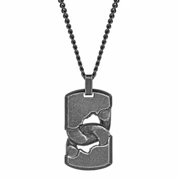 "Stainless Steel Dog Tag Pendant on a 24"" Curb Chain with Black Ion Plating"