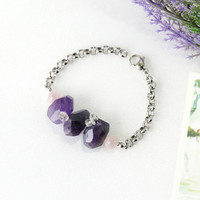 Purple Amethyst Statement Bracelet with Ametrine Chips and Rose Quartz Crystal Beads