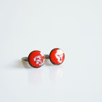 Miniature red enamelled cufflinks, vintage men jewelry, 1970 red white cuff links, gift for him , valentine gift for him , enamel cufflinks