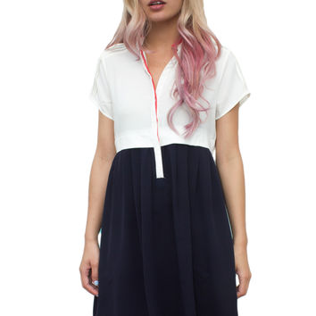 White and Navy Colorblock Dress
