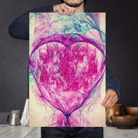 Fractal Abstract Energy Heart - I Love you to the moon and back | Galaxy Art Print | Digital Download | Modern Romantic Gift