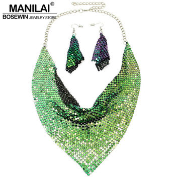 MANILAI Indian Jewelry Set Chic Style Shining Metal Slice Bib Choker Necklaces Earring Party / Wedding Fashion Jewelry Sets 2016